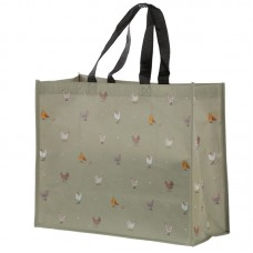 Recycled Plastic Reusable Shopping Bag Farmyard Chickens